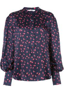 Chloé Blusa Estampada Com Botões - Azul