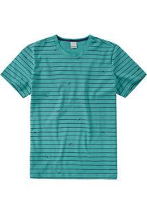 Camiseta Verde Turquesa Slim Listrada Malwee