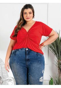 Blusa Plus Size Vermelha Com Frente Torcida