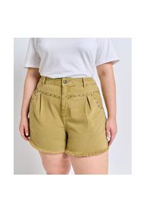 Short Liso Em Sarja Com Tachas Curve E Plus Size Verde