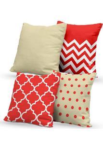 Kit 4 Capas De Almofadas Decorativas Own Geométricas Vermelho E Bege 45X45 - Somente Capa