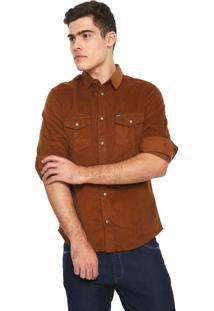 Camisa Colcci Veludo Slim Básica Caramelo