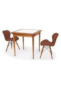 Conjunto Mesa De Jantar Em Madeira Imbuia Com Azulejo + 2 Cadeiras Slim - Marrom