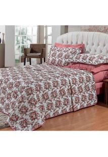 Jogo De Cama Para Casal Queen Premium Floral 180 Fios Estampado Rosê 03 Peças - Bordados Ricardo