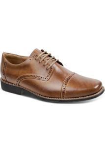 Sapato Casual Couro Oxford Sandro & Co. Hexram Masculino - Masculino-Caramelo