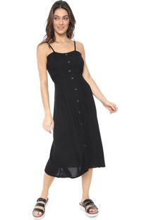Vestido Mercatto Midi Botões Preto