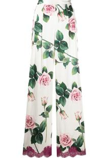 Dolce & Gabbana Calça Pantalona Com Estampa De Rosas Tropicais - Branco