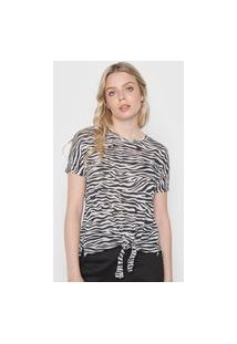 Blusa Calvin Klein Jeans Zebra Off-White/Preto