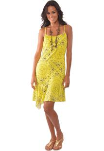 Vestido Elementais Neon Paisley Amarelo