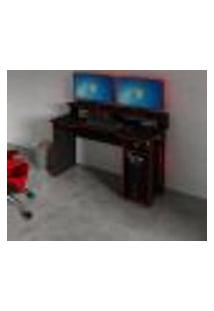 Mesa Escrivaninha Gamer Com 4 Nichos Tecno Mobili - Preto/Vermelho