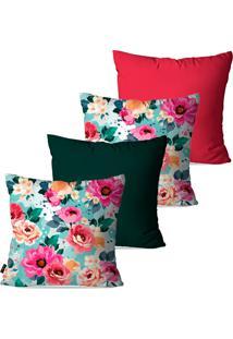 Kit Com 4 Capas Para Almofadas Pump Up Decorativas Verde Floral 45X45Cm
