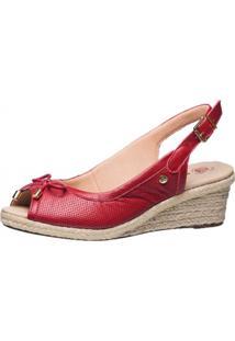 Sandália Anabela Doctor Shoes 660 Laço Vermelho