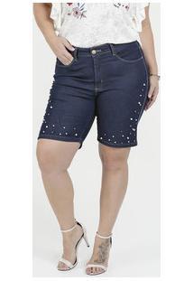 Bermuda Feminina Jeans Pérolas Plus Size Razon