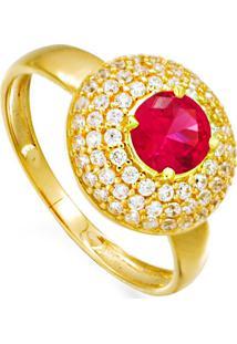Anel Em Ouro Quadrado Com Zirconia Vermelha - An15454