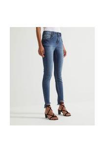 Calça Jeans Skinny Com Barra Desfiada | Marfinno | Azul | 36