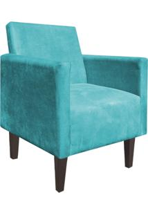 Poltrona Decorativa Compacta Jade Suede Azul Turquesa Com Pés Baixo Chanfrado - D'Rossi.