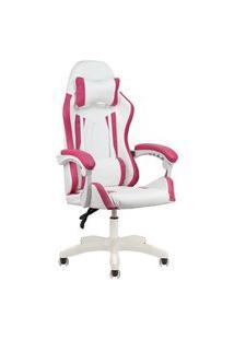 Cadeira Gamer Home Office Branca Com Rosa Escuro