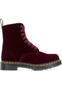 Dr. Martens Ankle Boot De Veludo - Vermelho