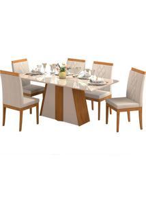 Conjunto De Mesa Para Sala De Jantar Daiana Com 6 Cadeiras Alice-Cimol - Madeira / Offwhite / Aspen