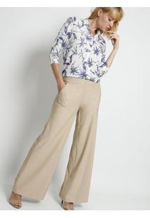 Camisa Folhagens- Branca & Azul Royal- Intensintens