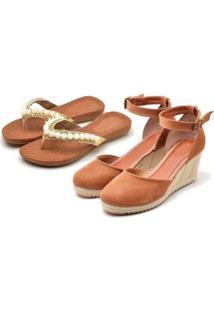Kit Sandália Anabela + Chinelo Ousy Shoes Feminino - Feminino-Caramelo+Branco