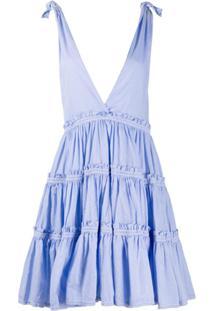 Alessia Santi Vestido Gola V Com Acabamento De Babados - Azul