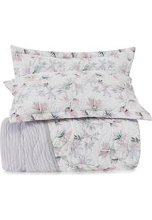 Conjunto De Colcha All Design Floral Queen Size- Branco Altenburg