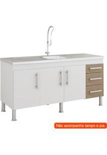 Balcão De Cozinha Flex 3 Pt 3 Gv Branco E Carvalho