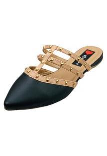Sapatilha Bico Fino Love Shoes Mule Spikes Detalhes Valentino'S Preto