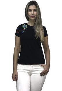 Camiseta Hifen Bordada Em Floral Preto
