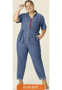 Macacão Azul Claro Feminino Jeans Plus