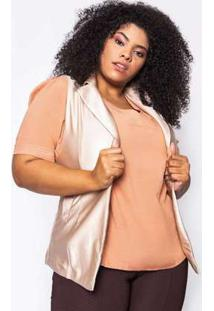 Colete Almaria Plus Size Kayla Paredes Liso Bege Bege