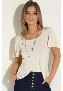 be4ee83519 ... Blusa Off White Com Recorte Central