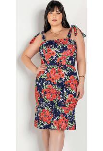 Vestido Floral Marinho Com Amarração Plus Size