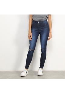Calça Jeans Skinny Colcci Bia Estonada Rasgo Feminina - Feminino