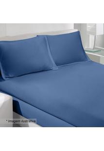 Jogo De Cama Rolinho King Size- Azul Escuro- 3Pã§S