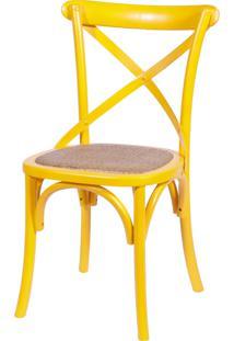Cadeira Cross Madeira Amarelo Or Design