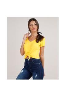 Blusa Feminina Cropped Canelada Com Nó Manga Curta Decote V Amarela