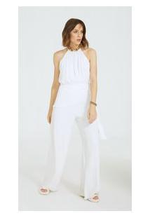 Macacão Morena Rosa Pantalona Com Amarração Off White