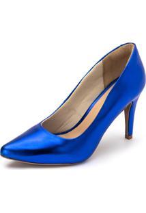 Sapato Scarpin Salto Alto Fino Em Azul Metalizado