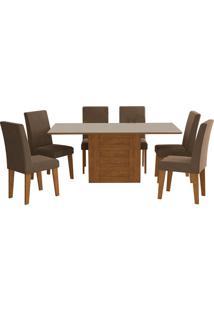 Conjunto De 6 Cadeiras Para Sala De Jantar 180X90Rafaela/Milena-Cimol - Savana / Off White / Chocolate