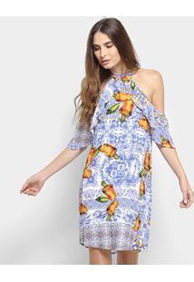 Vestido Open Shoulder Coca-Cola Estampado Feminino - Feminino-Azul