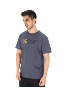 Camiseta Volcom Dagwood - Masculina - Cinza Escuro
