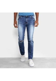Calça Jeans Skinny Opera Rock Estonada Rasgos Masculina - Masculino