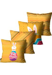 Kit Com 4 Capas Para Almofadas Mdecore De Páscoa Feliz Páscoa Amarelo 45X45Cm