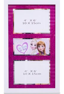Porta Retrato Minas De Presentes Moldura Para 2 Fotos 10X15Cm Anna & Elsa Frozen - Disney Branco