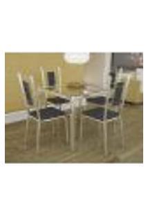 Conjunto De Mesa Com 4 Cadeiras Preto Reno Com Florença Kappesberg