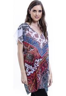 Blusa 101 Resort Wear Tunica Decote V Crepe Fendas Estampada Lencos