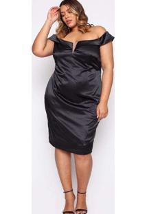Vestido Almaria Plus Size Pianeta Curto Cetim Pret