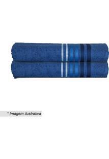 Toalha De Banho Dynamo Em Relevo- Azul Marinho & Branca